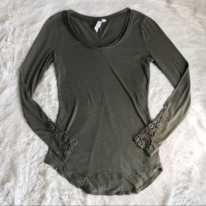 Others Follow Olive Green Long Sleeve Knit Top